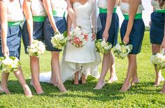 Love these navy, green, and white bridesmaid dresses!  // Photo by Dana Cubbage Weddings http://theeverylastdetail.com/2013/10/04/preppy-southern-blue-and-green-maryland-wedding/