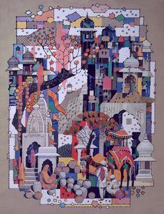 Ravi Paranjape Indian Illustration, Indian Contemporary Art, Silk Painting, Watercolour Painting, Acrylic Paintings, Indian Paintings, Traditional Art, Perse, Rajasthan India