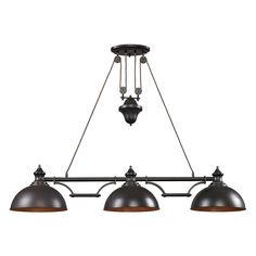 Farmhouse Linear Pendant features metal shades and structure in Oiled Bronze finish. Available in a 2 and 3 light version with incandescent or LED lamping. Incandescent version requires 100 watt 120 volt A19 medium base incandescent lamps, not included. LED version includes 13.5 watt replaceable LED lamps, 800 lumens per lamp. Features pulley and counterweight system making fixture height adjustable. 2-Light: 44 inch length x 13 inch width x 11 inch shade height x 30 inch minimum to 49 inch…