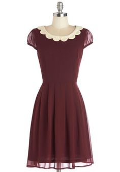 Surprise Me Dress in Burgundy - Mid-length, Woven, Red, Tan / Cream, Solid, Scallops, Casual, Vintage Inspired, A-line, Variation, Sheer, Top Rated