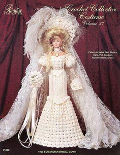 1908 Edwardian Bridal Gown for Barbie Doll Paradise #27 Crochet Pattern Leaflet