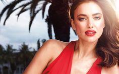 Irina Shayk, Russian supermodel, beautiful girl, makeup, red lipstick, red dress