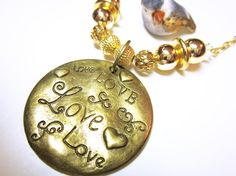 Word Quote Pendant Gold LOVE Word Quote Necklace Women's