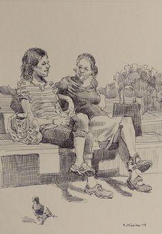 Daily Paintworks - - Original Fine Art for Sale - © Katya Minkina Human Figure Sketches, Human Sketch, Human Figure Drawing, Figure Sketching, Drawing Reference Poses, Art Reference, Cool Drawings, Drawing Sketches, Art Sketchbook