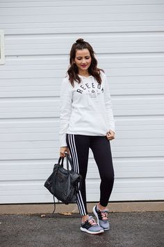 White Reebok Sweatshirt Black Adidas Leggings Adidas Solyx Sneakers Blogger Athletic Athleisure Outfit