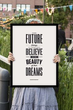 """Inspirational Quote Motivational Wall Art Decor """"The Future Belongs to Those Who Believe..."""" Typography Poster Mid Century Theme"""