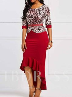 High low red dress, belted dress, long tail dress, leopard dress is beautiful and elegant, the high and low design is a very beautiful touch Purple Bodycon Dresses, African Traditional Dresses, Leopard Dress, African Attire, Fall Dresses, Prom Dresses, Wedding Dresses, Office Ladies, Belted Dress