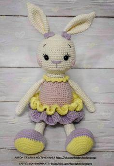 Crochet Bunny, Crochet Toys, Easy Crochet Patterns, Tweety, Baby Gifts, Free Pattern, Plush, Dolls, Knitting