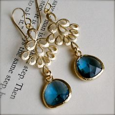 Chandelier Earrings-Art Deco Gold Earrings with Bezel Set London Blue Topaz-Sapphire Blue Glass-Peacock on Etsy, $29.00