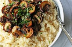 Rich, creamy rice slowly simmered with chicken broth, butter, parmesan cheese, and topped with butter sauteed mushrooms. Creamy Mushrooms, Sauteed Mushrooms, Wild Mushrooms, Baked Caprese Chicken, Salted Butter, Parmesan, Creamy Rice, Homemade Dinner Rolls, Soups