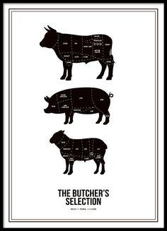 Print met snitschema, geschikt voor de keuken. Butchers selection met lam, koe en varken. Meerdere mooie keukenposters kunt u vinden bij de categorie Keukenposters. www.desenio.nl