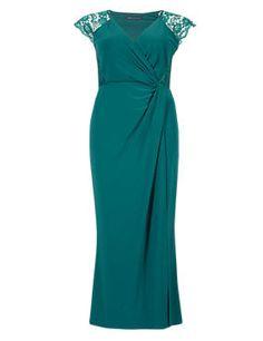 Floral Lace Shoulder Maxi Dress