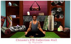 "mspoodle1: "" Chisami's STE Collection Converted 4to3 • 17 meshes - Console (dresser), Massage Table (functional), Shelves, Wall Deco, Lighting and Yoga Floor Deco. • Massage Table needs this in order..."