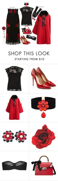 """In Bloom'"" by dianefantasy ❤ liked on Polyvore featuring River Island, Dolce&Gabbana, Salvatore Ferragamo, Chicwish, Miriam Haskell, Wacoal and Gucci"