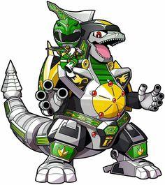 Mighty green ranger with dragonzord by Dino Rangers, Pawer Rangers, Power Rangers Dino, Power Ranger Dino Charge, Green Power Ranger, Power Rangers Fan Art, Mighty Morphin Power Rangers, Power Rangers Megazord, Chibi Marvel