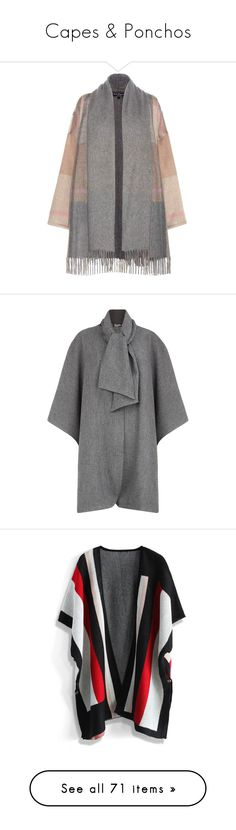 """""""Capes & Ponchos"""" by nmartinezcr ❤ liked on Polyvore featuring outerwear, cardigans, grey, grey cape coat, salvatore ferragamo, cashmere cape, plaid capes, cape coats, coats and jackets"""