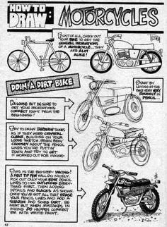 Cartoon Drawing Techniques Trosley How to Draw Motorcycles 2 Car Drawings, Cartoon Drawings, Cartoon Art, Drawing Techniques, Drawing Tips, Sketch Design, Drawing Designs, Cartoons Magazine, Bike Sketch