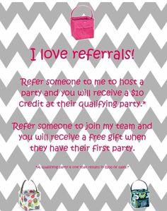 I love Thirty One referrals.  Check out my referral program. Message me here or via my website: www.mythirtyone.com/jenkomar