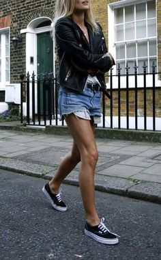 Leather jacket + Shorts + Sneakers!