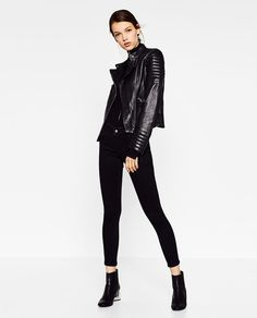 LEATHER JACKET WITH ZIPS-Jackets-OUTERWEAR-WOMAN   ZARA United States