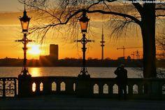#Hamburg Alster: Die Sonne geht unter, Hamburgs Schwäne ziehen vorbei und Du genießt den #Abend bei einem #Sonnenuntergang an der Hamburger Außenalster ...