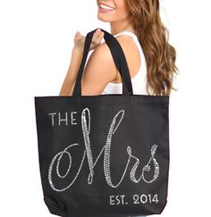 Brides Tote : Mrs Tote Bag, Jumbo Bride's Tote,  Bridal Shower Gift, Bachelorette Party, Engagement, Carryall