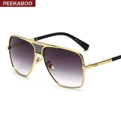 c84f2342ca794 FuzWeb Peekaboo new steampunk square sunglasses men flat top metal gold  european american retro sun