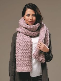 Knitting pattern for a cosy, super chunky basket weave cable stitch scarf using Rowan Big Wool. See our great prices and fast service. Winter Accessories, Crochet Accessories, Big Wool, Knitted Scarves, Rowan, Basket Weaving, Cosy, Weave, Knitting Patterns