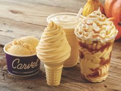 As if pumpkin soft serve weren't enough, Carvel will also sell pumpkin milkshakes, hand-scooped pumpkin ice cream with marshmallows in it, and a Pumpkin Sundae Dasher, which features layers of pumpkin ice cream, pound cake and caramel sauce, topped with whipped cream and a caramel drizzle, because why not? You can pick up all four options in stores starting Sept. 21.   - Delish.com