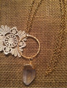 Quartz crystal pendant necklace by SouthernShoreStones on Etsy