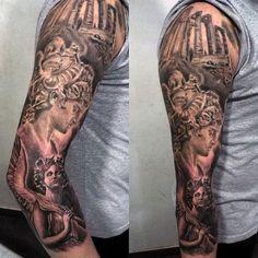 Mens Full Sleeve Greek Guardian Angel Tattoo