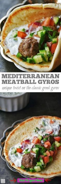 Mediterranean Meatball Gyros Sandwiches   by Life Tastes Good are full of flavor and very satisfying! Using simple flavors often found in Greek cuisine, this unique recipe puts a twist on a traditional gyros recipe. Makes a tasty dinner or appetizer recipe for parties too! #SundaySupper #health #fitness #weightloss #healthyrecipes #weightlossrecipes