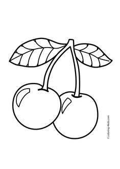 Cherry Fruits Coloring Pages For Kids Printable Free