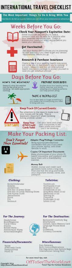 The Ultimate International Travel Checklist travel vacation tips infographic infographics vacations good to know abroad international travel checklists  #traveltips