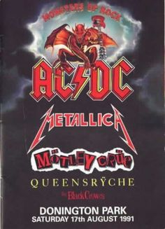 A concert poster for the Monsters of Rock tour featuring Metallica, Motley Crue, Queensryche, and the Black Crows.