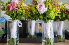 San Diego Wedding Flowers- Cute bridesmaid bouquets light pink roses and dark pink alstroemeria.