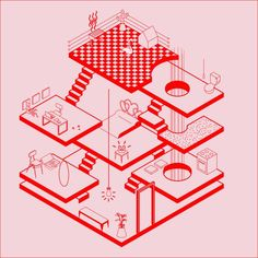 Architecture, illustration, upper playground isometric drawing, isometric d Isometric Drawing, Isometric Design, Architecture Graphics, Architecture Drawings, Architecture Illustrations, Graphic Design Illustration, Illustration Art, Design Art, Web Design