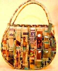 Aprende a elaborar carteras y bolsos con papel periódico reciclado ~ Mimundomanual