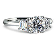 Trapezoid Diamond Engagement Ring in Platinum (1/2 ctw)