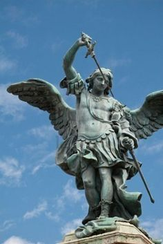 Picture of Saint Michael statue on the top of Castel Sant`Angelo in Rome stock photo, images and stock photography. Saint Michael Statue, St Michael, Miguel Angel, Caravaggio, Angel Sculpture, Sculpture Art, Michelangelo Sculpture, I Believe In Angels, Ange Demon