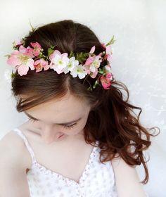 rustic wedding hair wreath, woodland headpiece, pink bridal hair flower - FOLKLORE - fern, pink flower. $125,00, via Etsy.