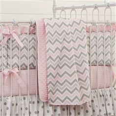 Pink and Gray Chevron Crib Bedding | Carousel Designs