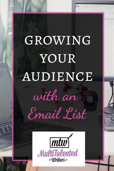 How to grow your audience with an email list. Description of background Photo: a desk with a laptop desktop screen and flowers. Photo by Georgia de Lotz on Unsplash. Email Marketing Services, Digital Marketing Strategy, Marketing Strategies, Affiliate Marketing, Media Marketing, Creative Writing Tips, Writing A Book, Writing Ideas, Like Facebook