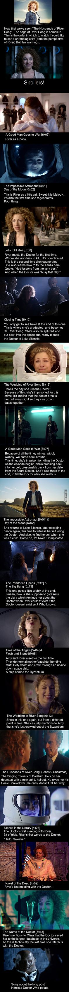 River Song's Timeline. Watch in this order if you'd like to see River's journey in Doctor Who. How did this not mention that he spends 44 years with her on that last night at the singing towers