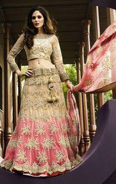 Picture of Magical Beige and Pink Bridal Designer Lehenga Choli