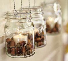 simple autumn decor- mason jars with candles and acorns