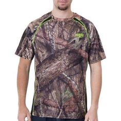 Realtree and Mossy Oak Mens Camo Performance Short Sleeve Tee, Men's, Size: Large, Multicolor