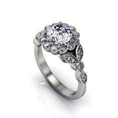 moissanite diamonds floral design  engagement by fabiandiamonds
