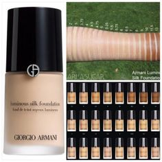 Giorgio Armani Luminous Silk Foundation swatches... in 3.5, 4.5 & 5.5 depending on season