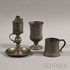 Three Pewter Items Pewter Tankard, Antique Pewter, Primitives, Metal Art, Candlesticks, Still Life, Vases, Candle Holders, Auction